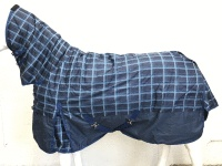 SALE !!! 600D NAVY CHECK 300G WINTER STABLE HORSE COMBO RUG