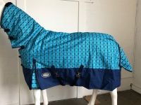 !!! sale !!! AXIOM 1200D R/S BLUE CHECK/NAVY 300gm PADDOCK COMBO HORSE RUG