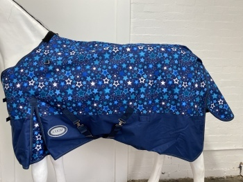 AXIOM 1200D RIPSTOP BLUE STAR/NAVY 220gm PADDOCK HORSE RUG