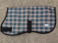 AXIOM 1800D TARTAN NAVY/BROWN CHECK WATERPROOF WARM DOG COAT