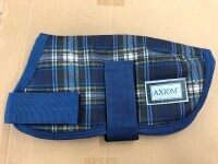 AXIOM 1800D TARTAN NAVY CHECK WATERPROOF WARM DOG COAT
