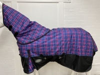 AXIOM 1800D BALLISTIC RED TARTAN/BLACK 300g HORSE RUG w/h DETACHABLE NECK