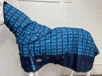AXIOM 1800D BALLISTIC BLUE CHECK/NAVY 300g HORSE RUG w/h DETACHABLE NECK