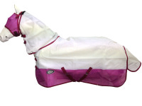 !CLEARANCE! AXIOM WHITE/PINK STRONG MESH FLYSHEET HORSE COMBO RUG